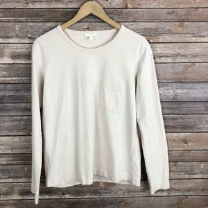 COS Long Sleeve Pocket Tee Cotton Top Pink